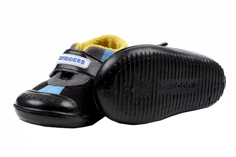 Image of Skidders Boy's Skidproof Sneakers Casual Sport Black/Blue Shoes XY8815 - Black - 4; Fits 12 Months