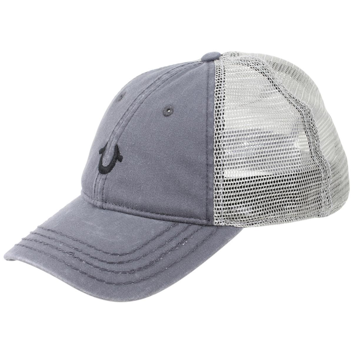 d0f91e6a5 True Religion Men's Core Logo Cotton Strapback Trucker Cap Hat