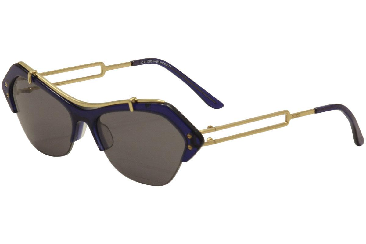 Image of Tod's Women's TO0166 TO/0166 Fashion Sunglasses - Navy Crystal Gold/Smoke   01V  - Lens 56 Bridge 15 Temple 135mm