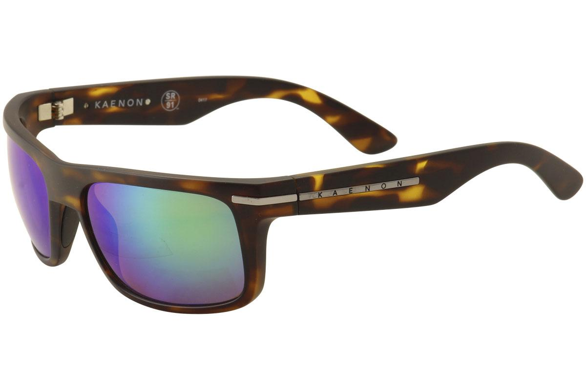 Image of Kaenon Burnet 017 Polarized Fashion Sunglasses - Matte Tortoise Silver/SR 91 Green Mirror   B12  - Lens 57 Bridge 19 Temple 125mm