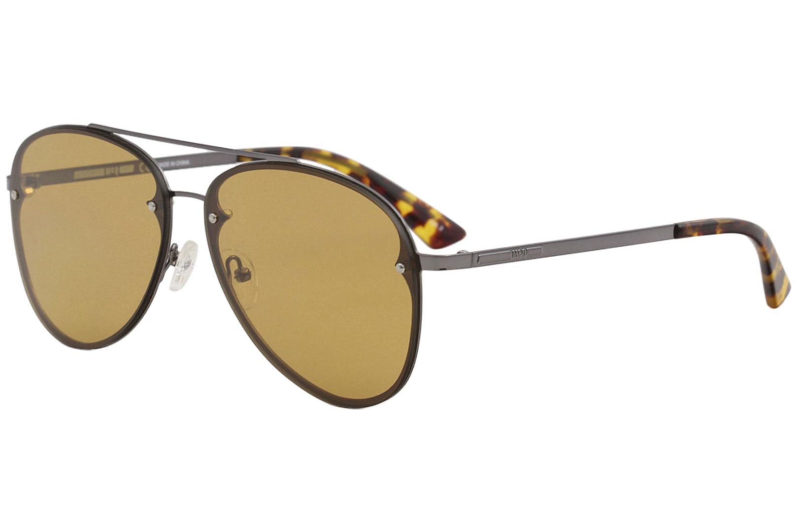 Image of McQ by Alexander McQueen MQ0136S MQ/0136/S 005 Ruthenium Pilot Sunglasses 59mm - Ruthenium/Orange   005 - Lens 59 Bridge 13 Temple 140mm