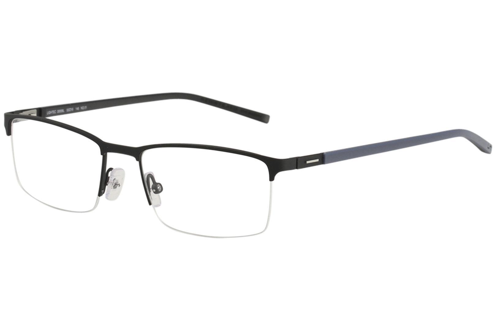 Image of Morel Men's Eyeglasses Lightec 30009L 30009/L Half Rim Optical Frame - Black - Lens 53 Bridge 18 Temple 145mm