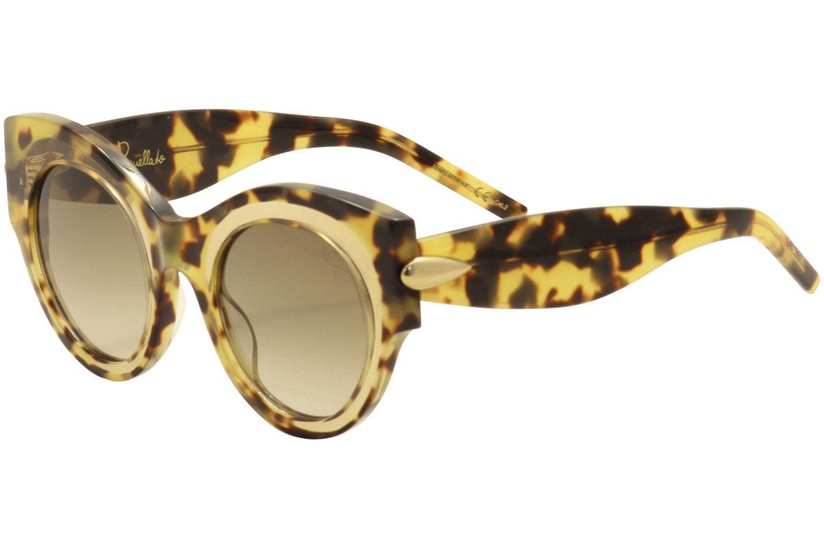Image of Pomellato Women's PM0007S PM/0007/S Fashion Sunglasses - Tortoise Tan Crystal Matte Gold/Brown Grad   001  - Lens 48 Bridge 24 Temple 140mm