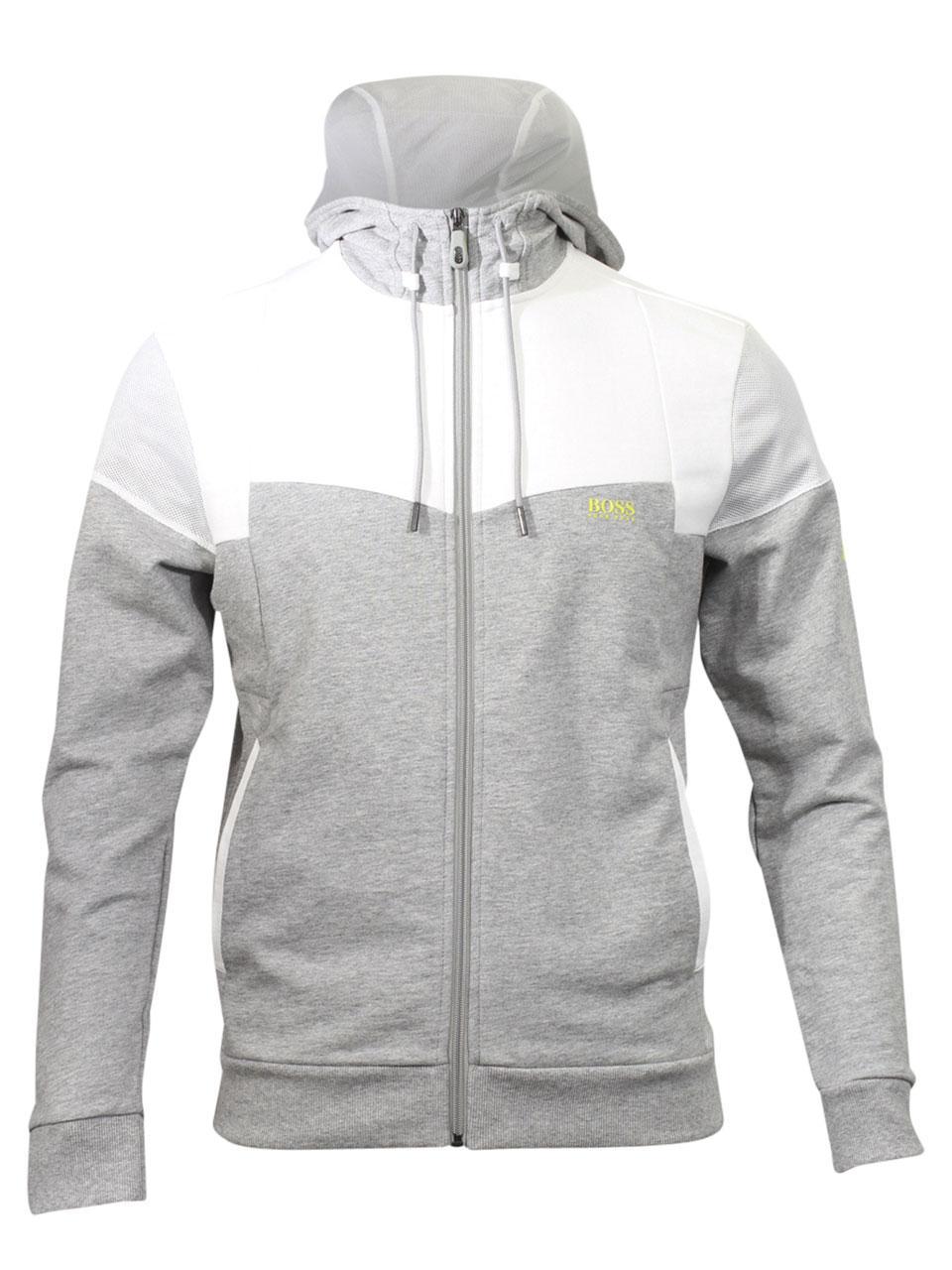 48f74a54f Hugo Boss Men's Saggy-1 Hooded Cotton Sweatshirt Zip-Jacket