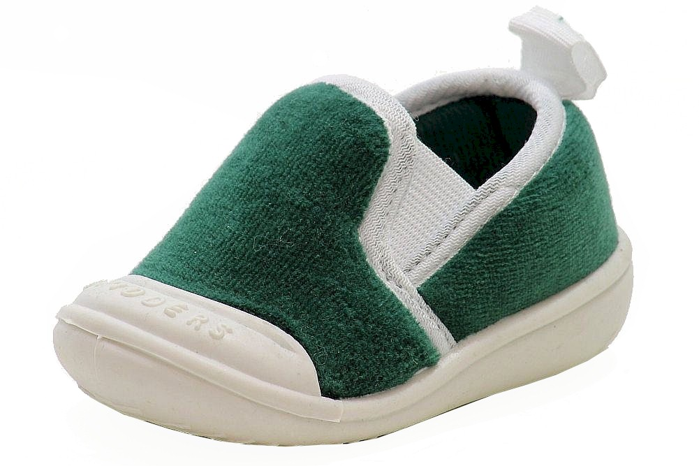 Image of Skidders Boy's Skidproof Gripper Slipper Shoes - Green - 8   Fits 24 Months