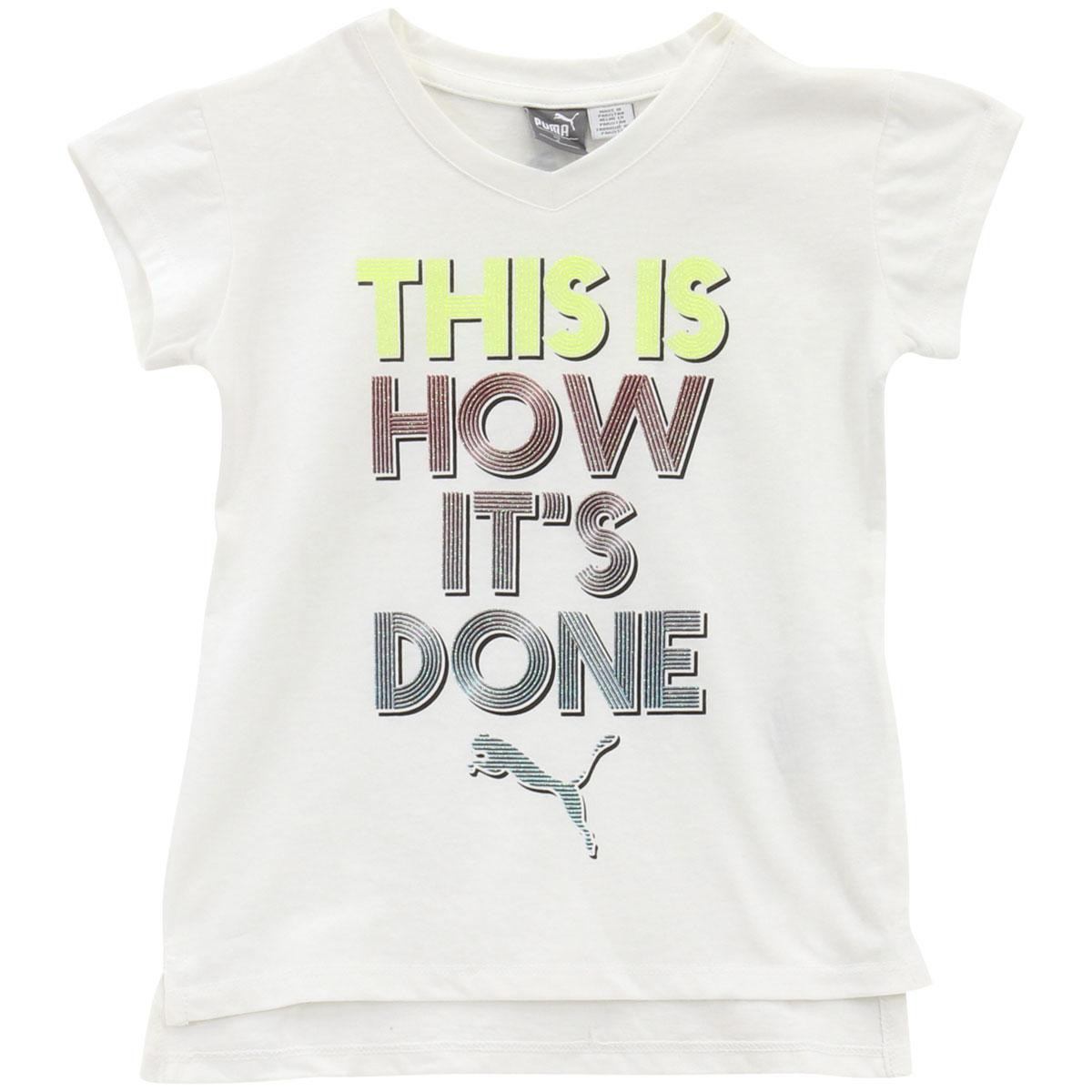 Puma Little Girl/'s V-Neck This Is How Its Done White Short Sleeve T-Shirt