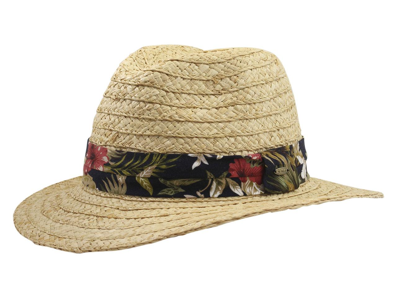 353e35b494aff7 Scala Men's Tropical Trim Raffia Safari Hat