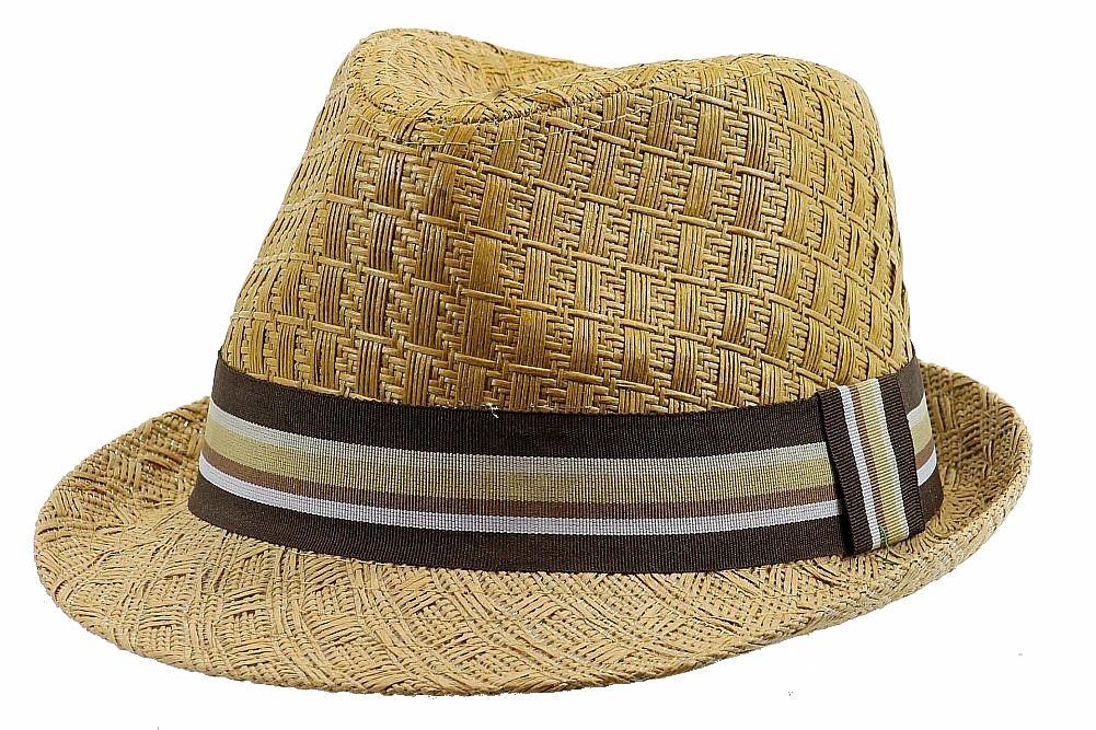 Image of Henschel Men's 3094 Toyo Straw Basket Weave Fedora Hat - Brown - Medium