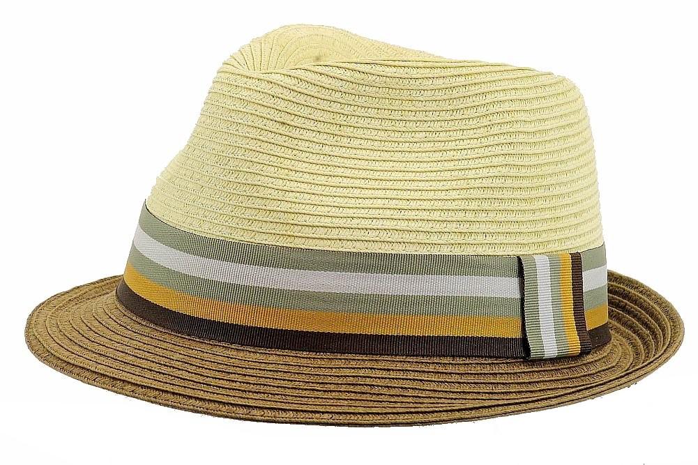 Image of Henschel Men's 6275 Gentleman Contrast Braid Strips Fedora Hat - Beige - Medium