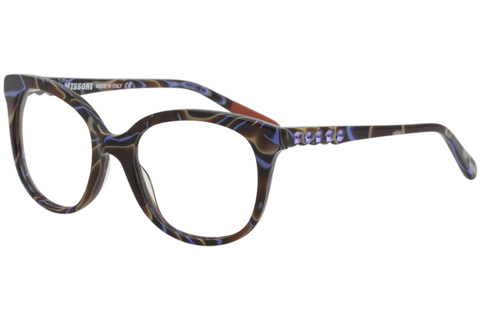 Image of Missoni Women's Eyeglasses MI313V MI/313/V Full Rim Optical Frame - Brown W/Crystal Accents   03 -  Lens 53 Bridge 19 Temple 140mm