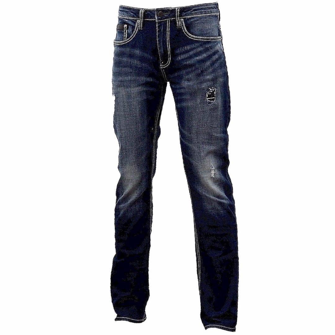 Image of Buffalo By David Bitton Men's Ash X Skinny Stretch Jeans - Indigo Sanded & Painted - 33W x 32L