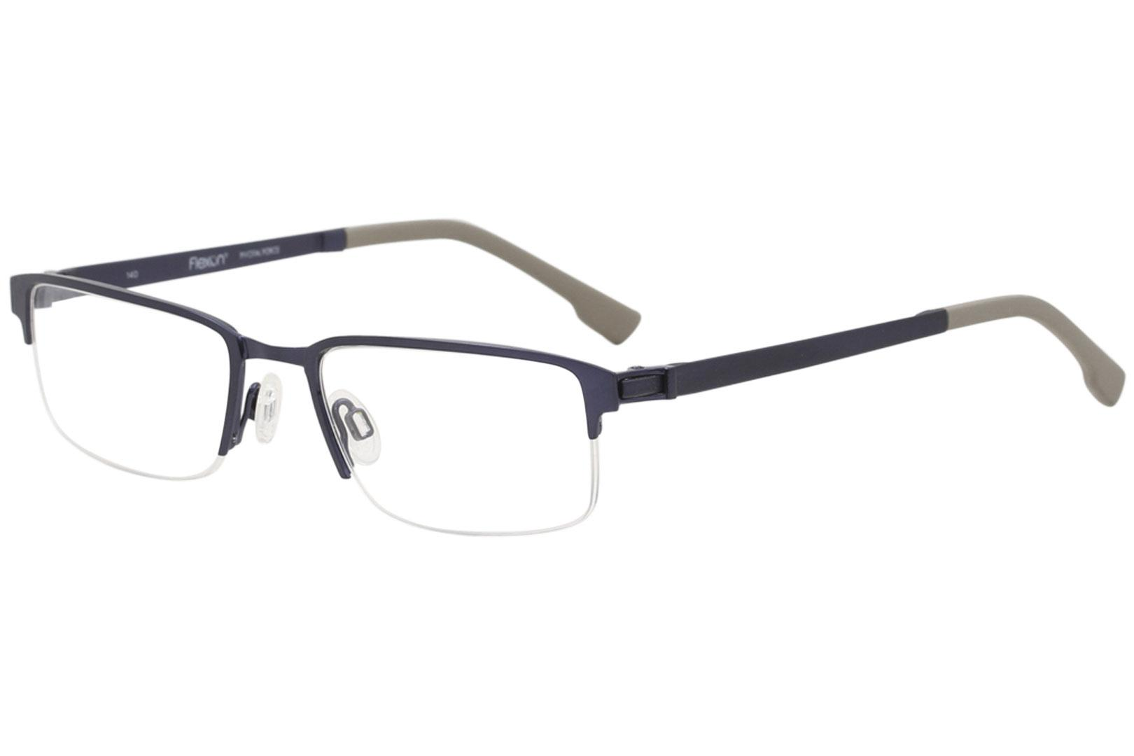 Image of Flexon Eyeglasses E1052 E/1052 412 Brushed Navy Half Rim Optical Frame 53mm - Brushed Navy   412 - Lens 53 Bridge 19 Temple 140mm