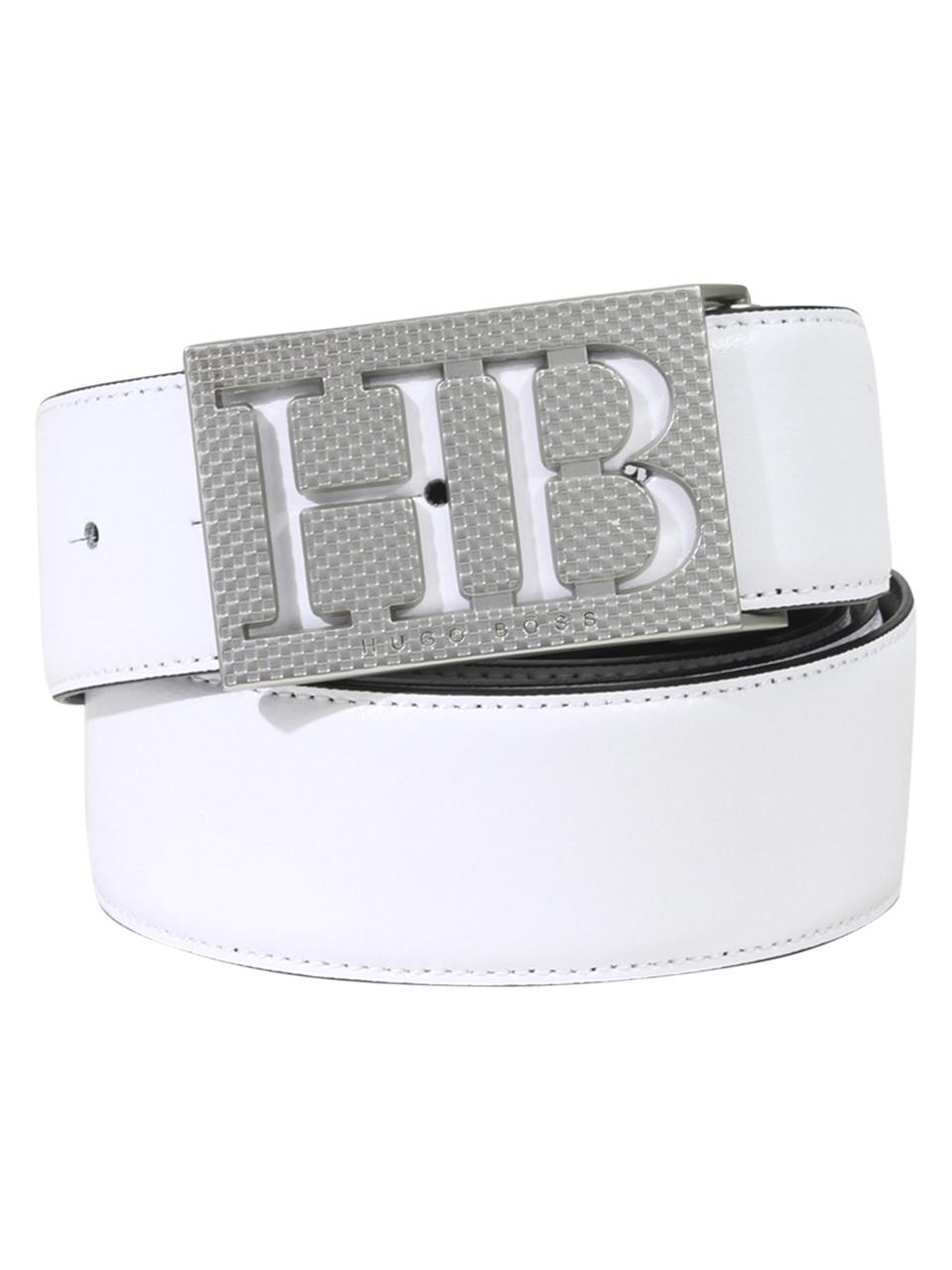 760ff579b34 Hugo Boss Men's Balwi Reversible Genuine Leather Belt Adjustable To Size 46