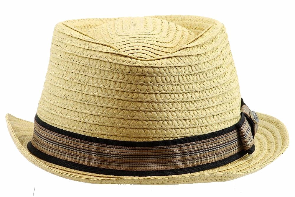 81ac09687 Dorfman Pacific Men's Braided Straw Diamond Crown Trilby Hat