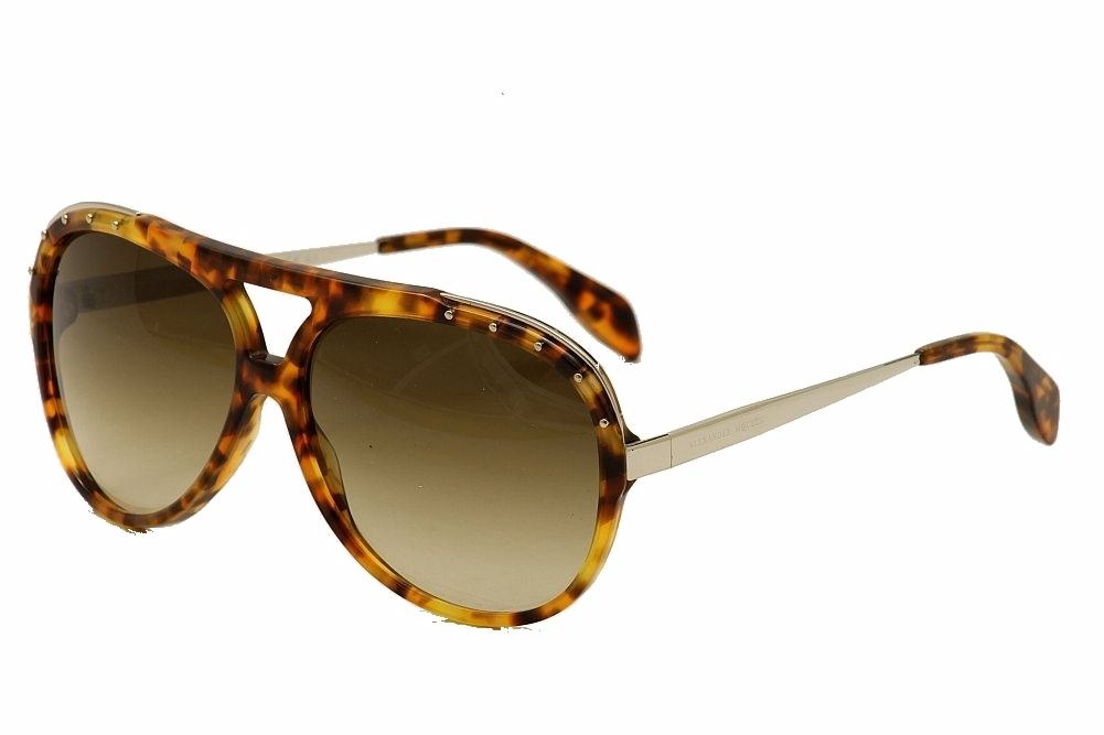 Image of Alexander McQueen AMQ4240/S 4240S Fashion Pilot Sunglasses - Brown - Lens 61 Bridge 14 Temple 135mm