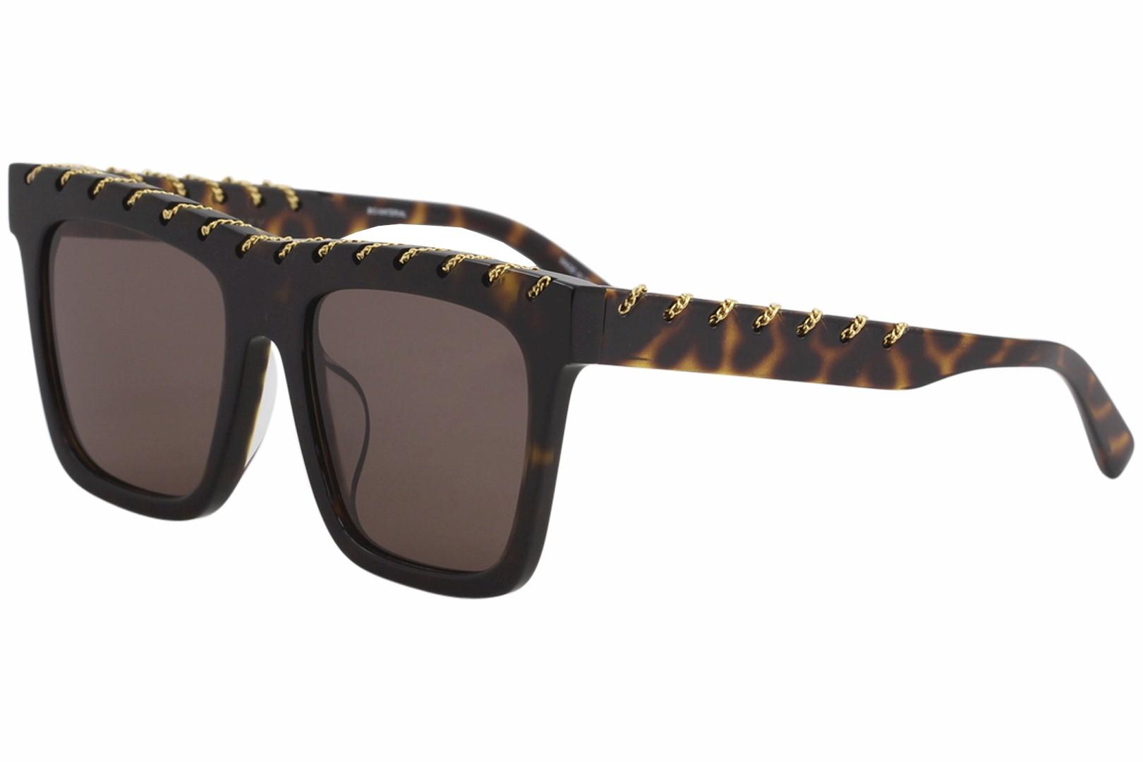 Image of Stella McCartney Falabella SC0128SA SC/0128/SA 002 Havana Square Sunglasses 54mm - Havana Gold/Brown   002 - Lens 54 Bridge 20 Temple 150mm (Asian Fit)