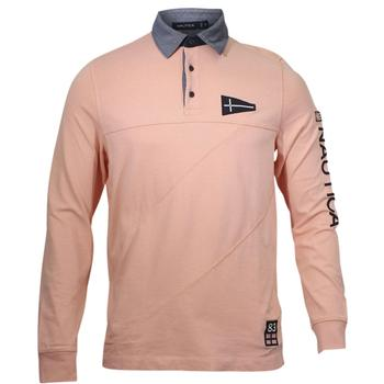 264944d0 Nautica Men's Slim Fit Long Sleeve Cotton Rugby Polo Shirt; Picture 2 of 4;  Picture 3 of 4 ...