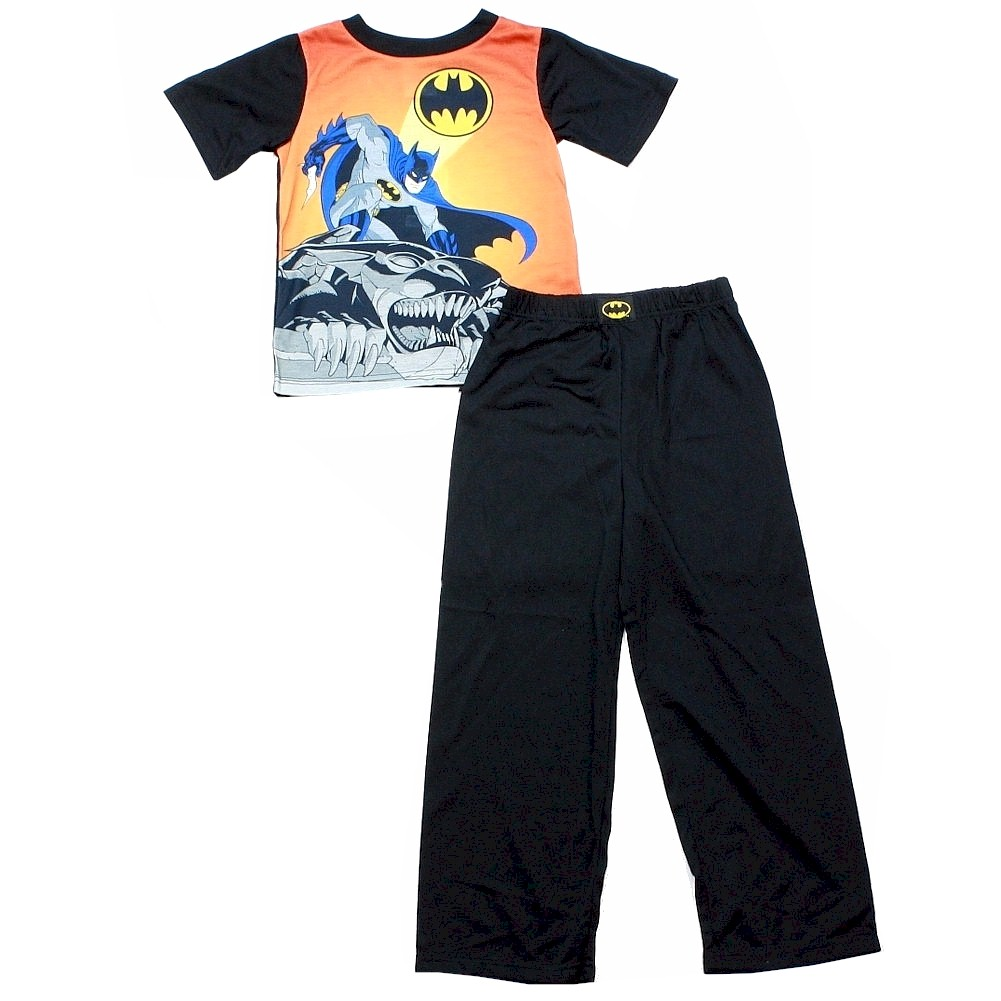 Image of Batman Sz. 8/10 Black & Orange 2 Piece Pajama Sleepwear Set   Shirt & Pants