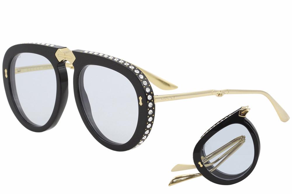 Gucci Women s GG0307S GG 0307 S Fashion Pilot Folding Sunglasses 723a68c322