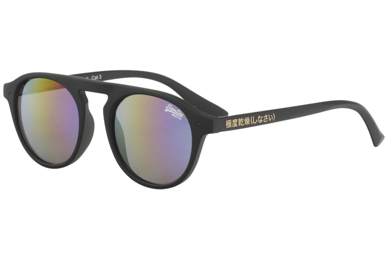 Image of Superdry SDS Palm Springs Fashion Round Sunglasses - Rubber Black/Grey Multi Flash   104 -  Lens 49 Bridge 19 Temple 145mm