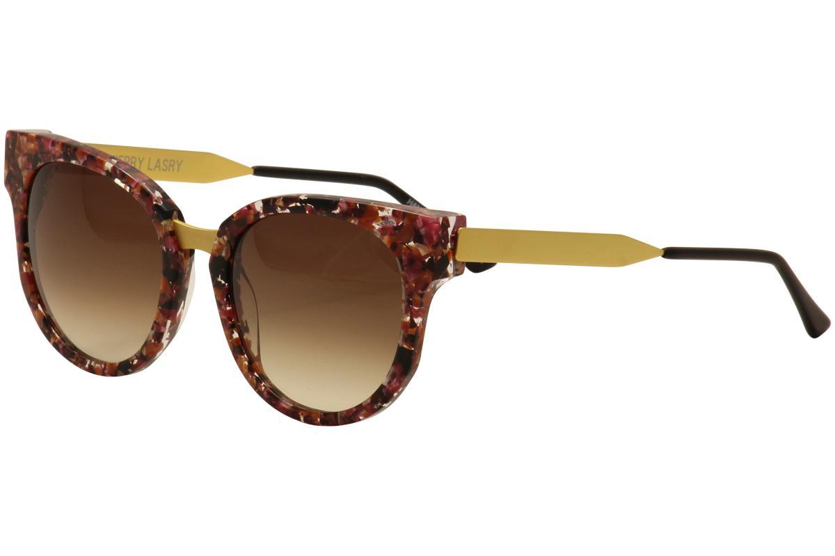 Image of Thierry Lasry Women's Affinity Fashion Sunglasses - Floral Pink Multi Matte Gold/Brown Grad   V207  - Lens 54 Bridge 18 Temple 140mm