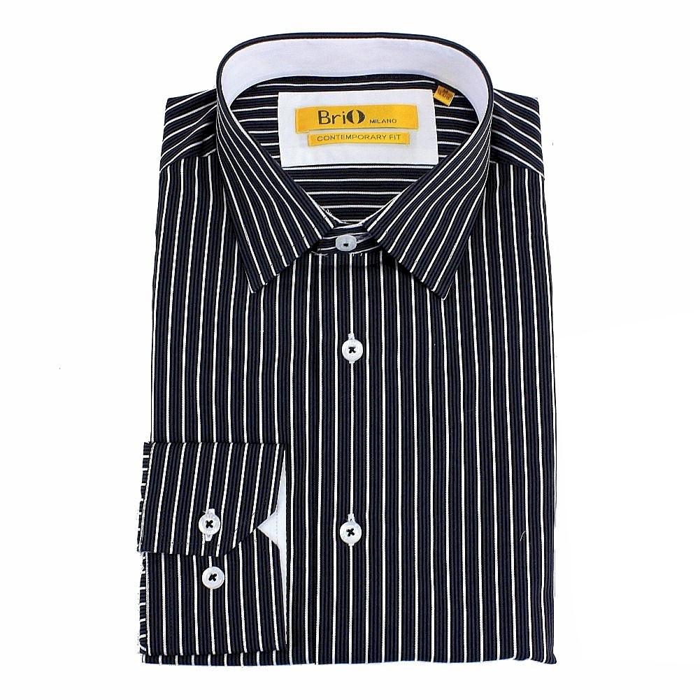 Image of Brio Milano Men's Stitched Collar Stripe Button Up Dress Shirt - Black - S; Collar 14 14.5 Arm 32.5 33