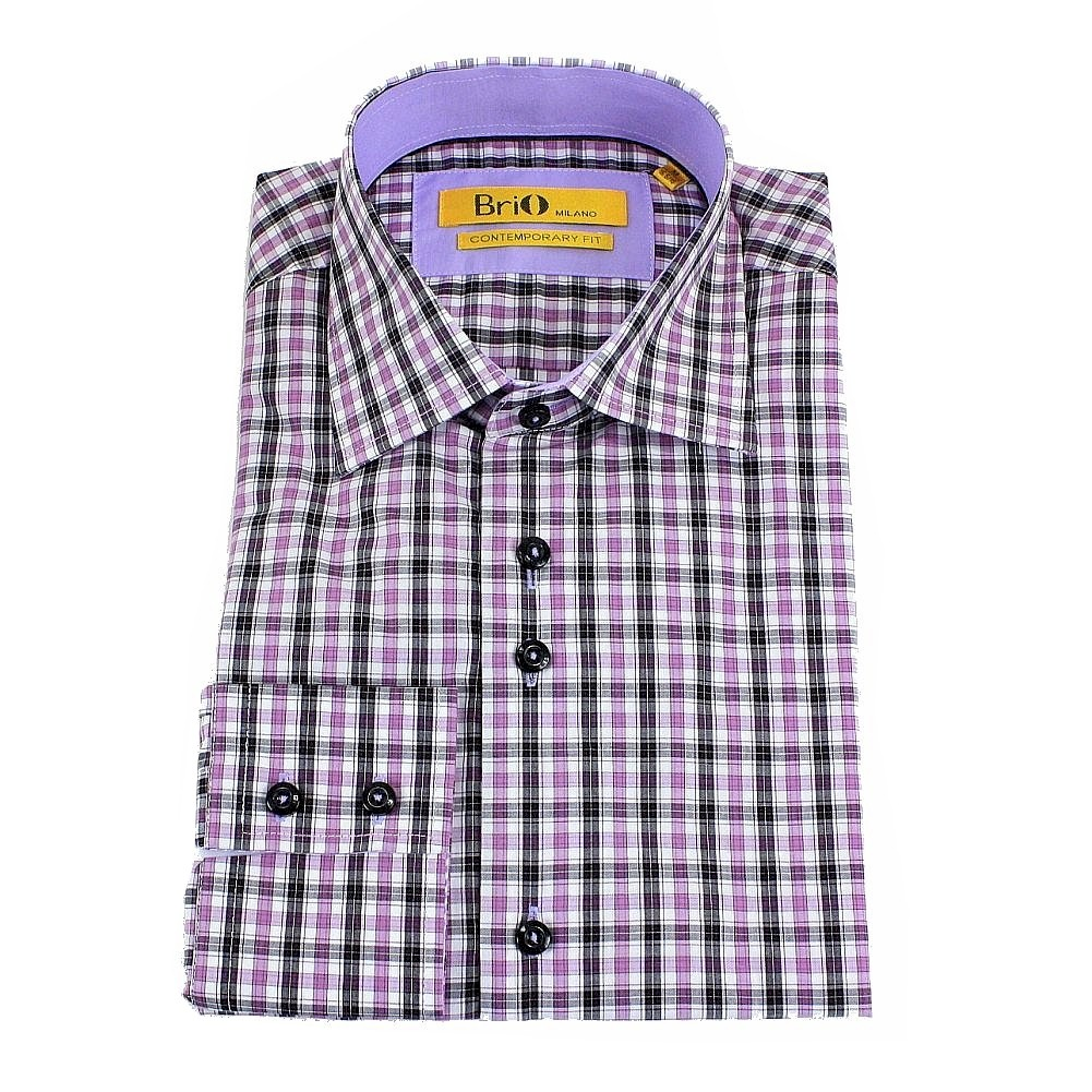 Image of Brio Milano Men's Stitched Collar Plaid Button Up Dress Shirt - Purple - L:  Collar: 16 16.5 Arm: 34 35