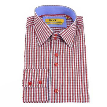 Brio Milano Men's Stitched Collar Small Plaid Button Up Dress Shirt  UPC: