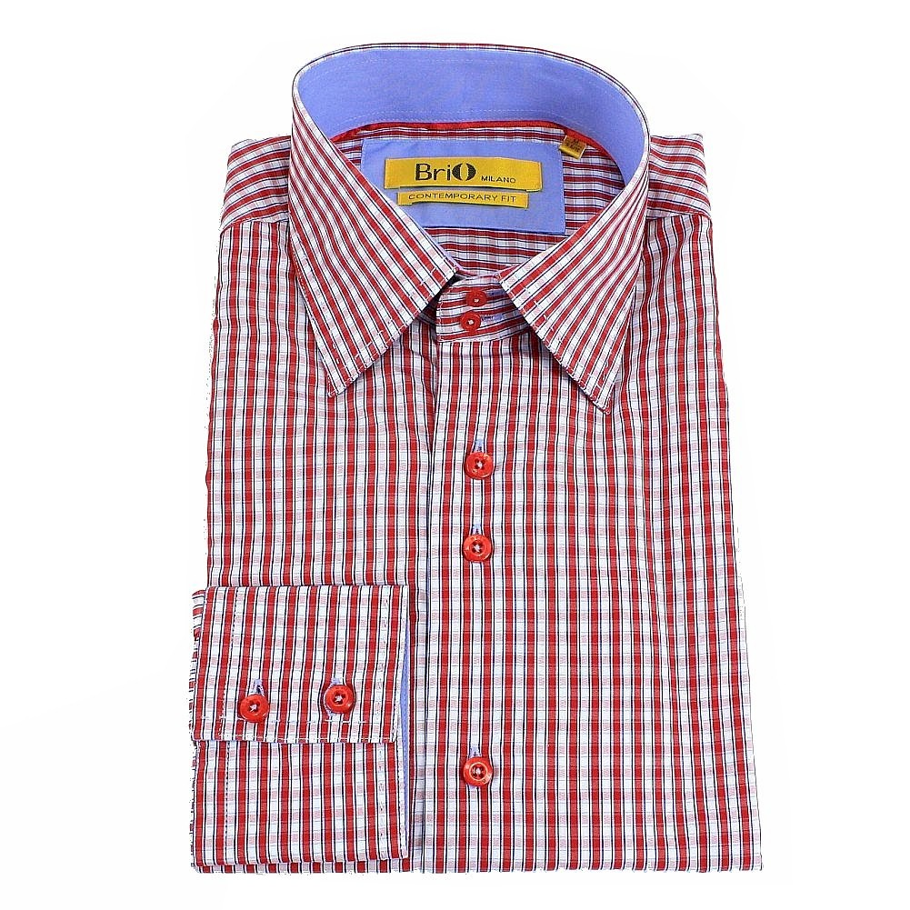 Image of Brio Milano Men's Stitched Collar Small Plaid Button Up Dress Shirt - Red - M; Collar 15 15.5 Arm 33.5 34
