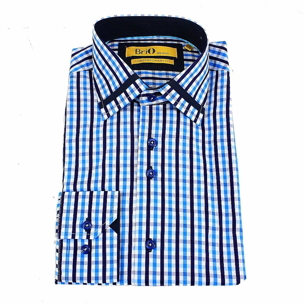 Image of Brio Milano Men's Strip Trim Collar Plaid Button Up Dress Shirt - Blue - S; Collar 14 14.5 Arm 32.5 33