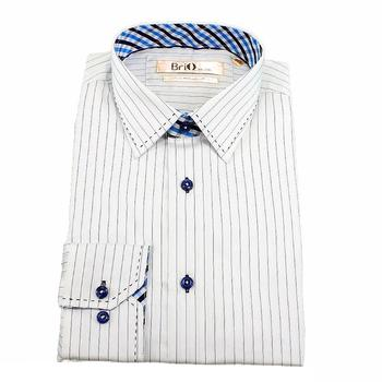 Brio Milano Men's Contrast Collar Pin Stripe Button Up Dress Shirt  UPC: