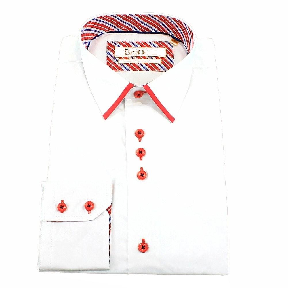 Image of Brio Milano Men's Plaid Trim Button Up Dress Long Sleeve Shirt - White - M; Collar 15 15.5 Arm 33.5 34