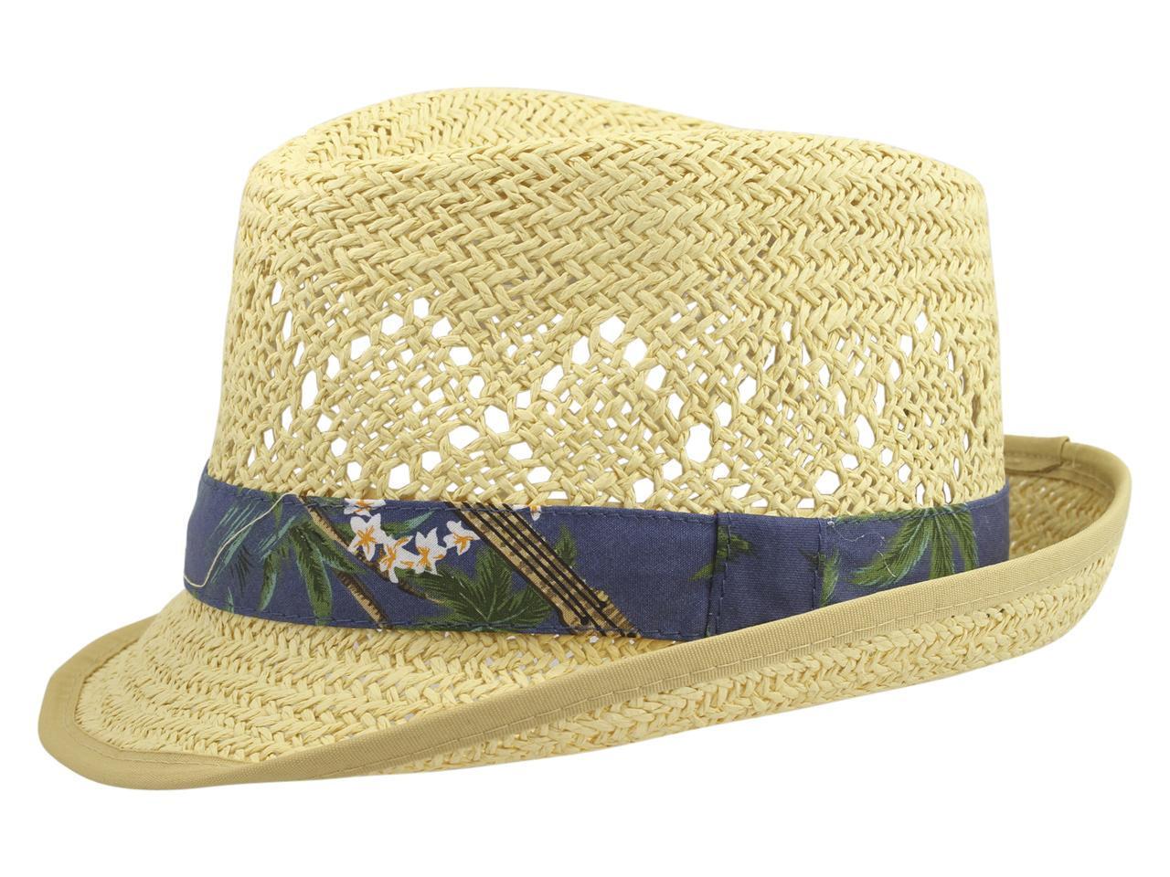 Henschel Men s Hawaiian Trim Fedora Hat 163fd6d374e