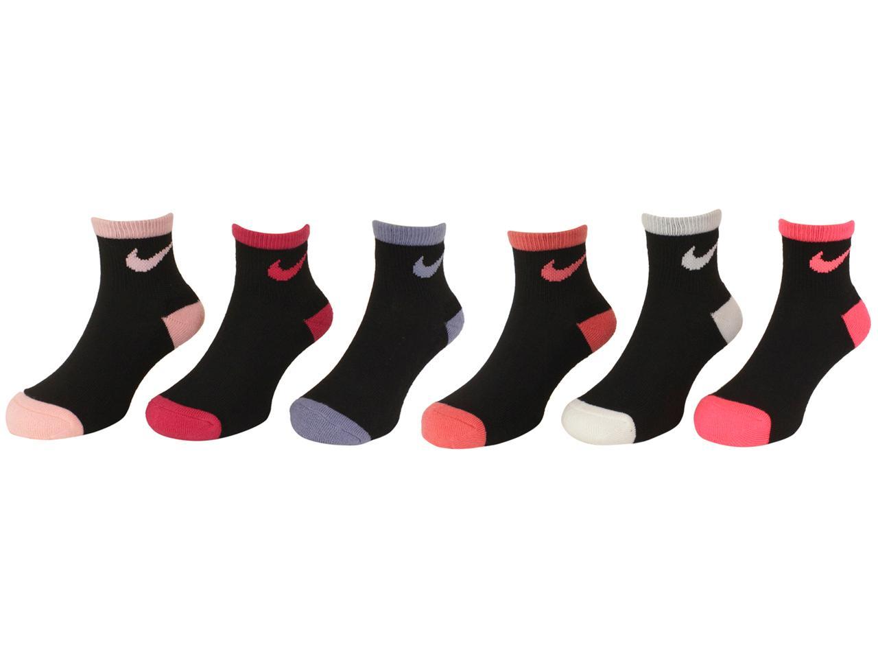 Nike Girls 6 Pair Pack Lightweight Cushioned Quarter High Socks 10C-3Y 5//7