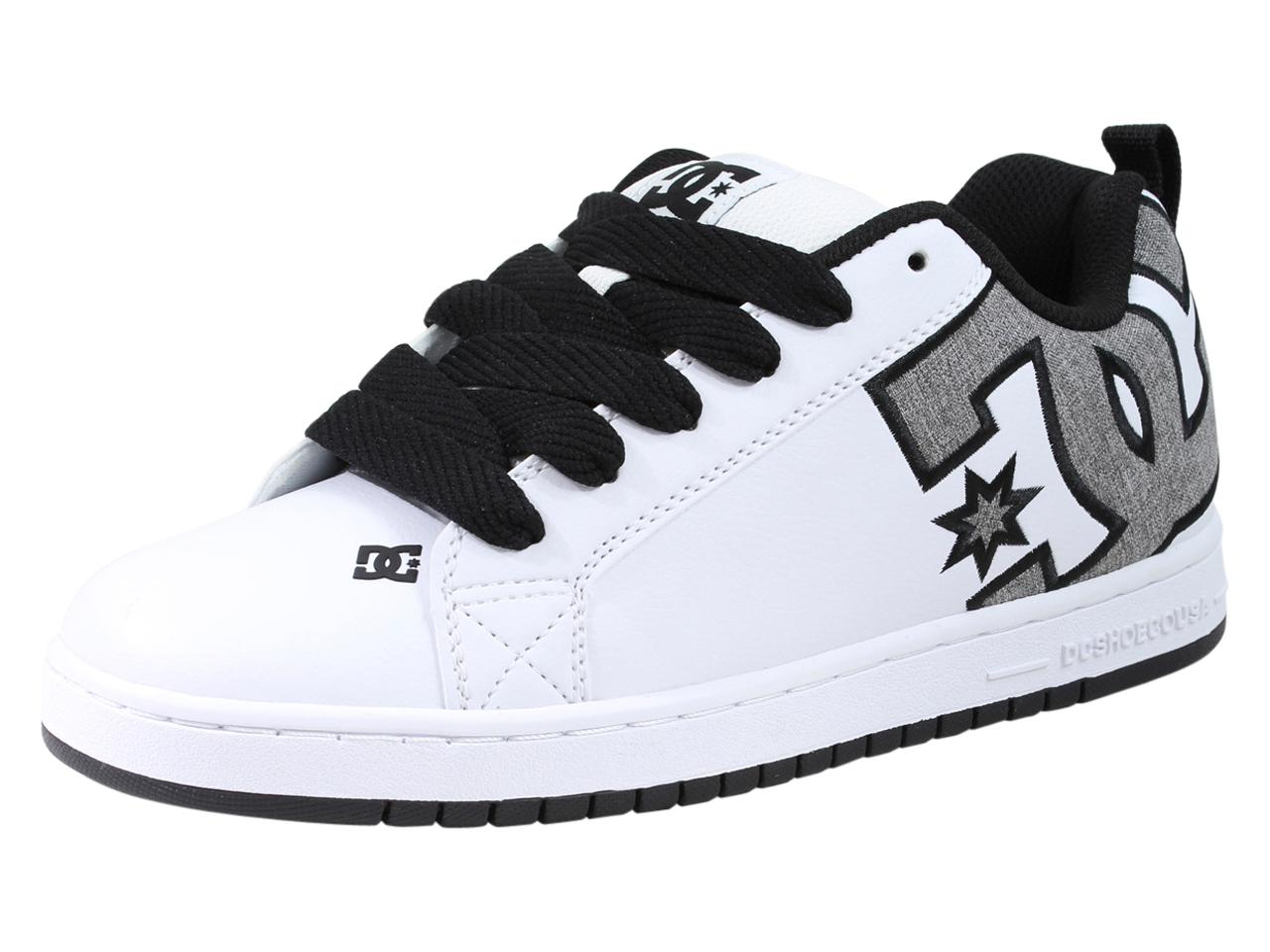 Image of DC Men's Court Graffik SE Skateboarding Sneakers Shoes - White/Heather Grey Leather - 9.5 D(M) US