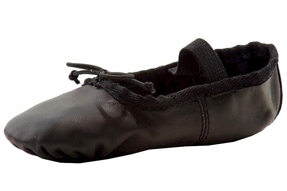 Image of Dance Class Girl's Soft Leather Ballet Slip On Dancing Shoes - Black - 11   Little Kid