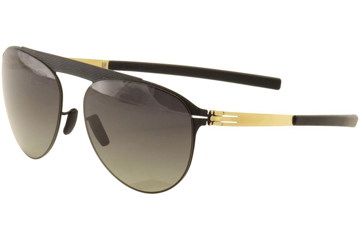 Image of Ic! Berlin Meike B. Pilot Fashion Sunglasses -  Black Matte Gold/Dark Grey Grad Polarized Lens - Lens 48 Bridge 19 Temple 145mm