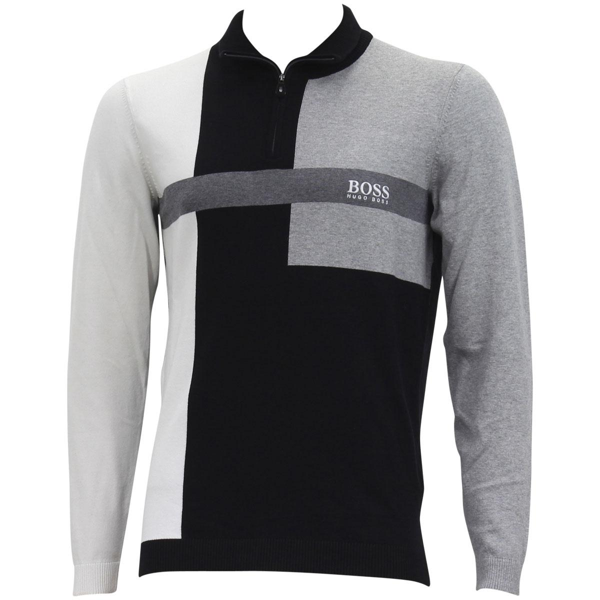 d9315943b Hugo Boss Men's Black Zelchoir Color Block Funnel Neck Long Sleeve Sweater