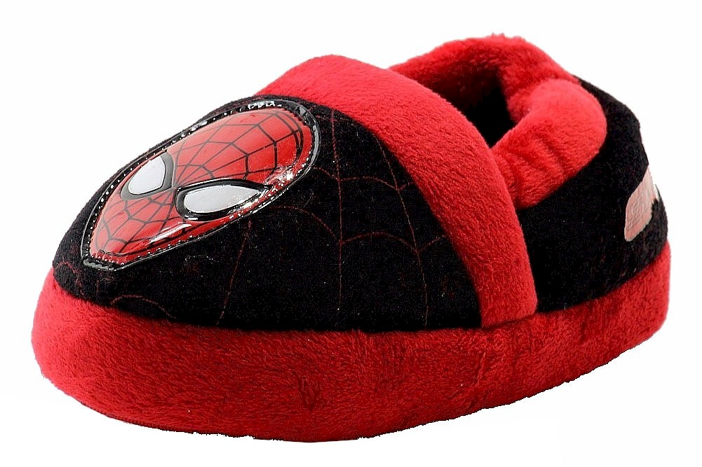 Image of The Amazing Spiderman 2 Toddler Boy's SPF230 Fleece Slippers Shoes - Black - Small   5/6