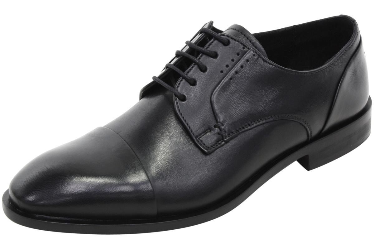 Image of Bacco Bucci Men's Nacho Leather Lace Up Oxfords Shoes - Black - 8 D(M) US