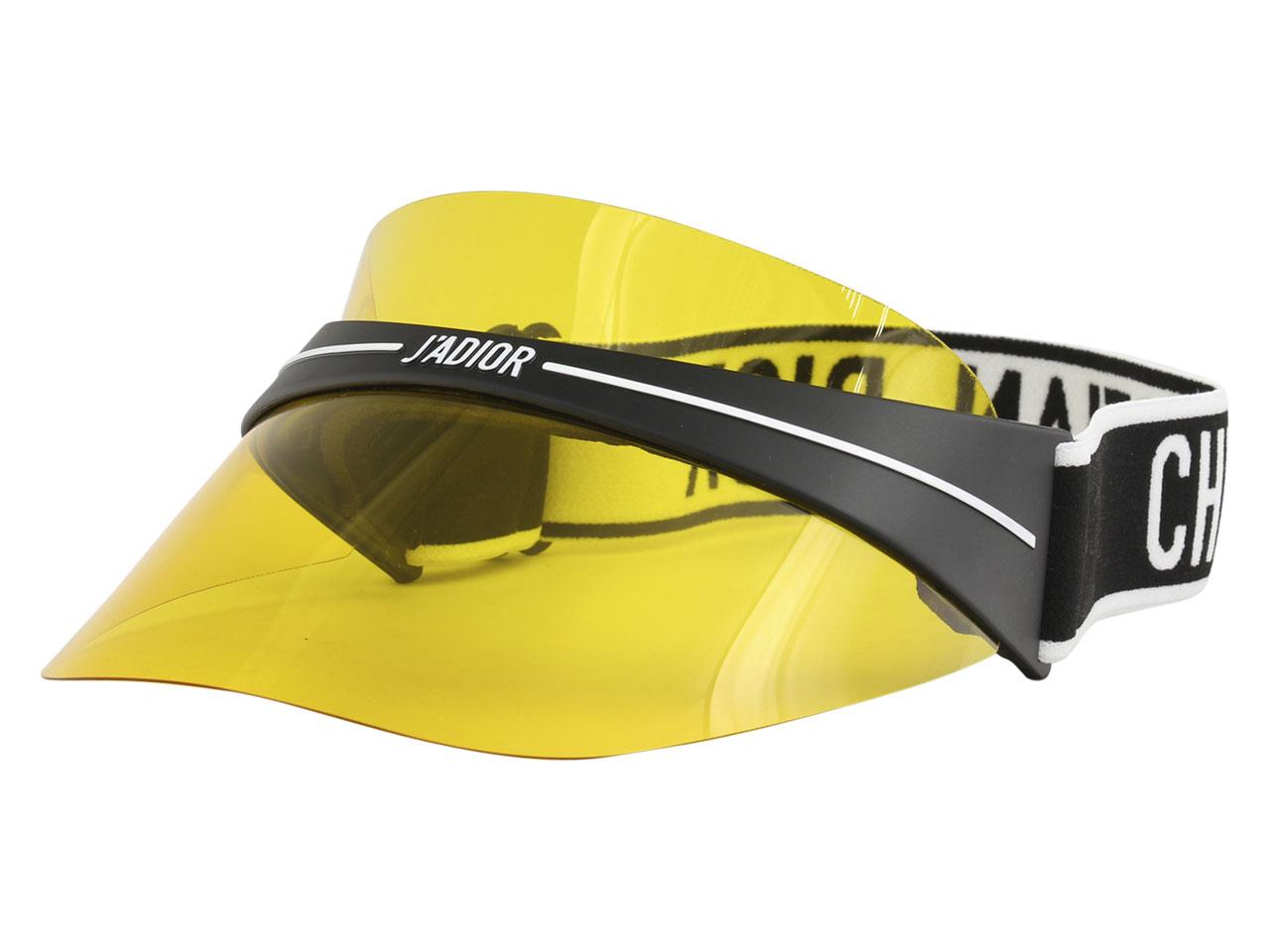 Image of Christian Dior DiorClub1 Adjustable Visor Hat - Black White/Yellow   0TL - One Size Fits Most