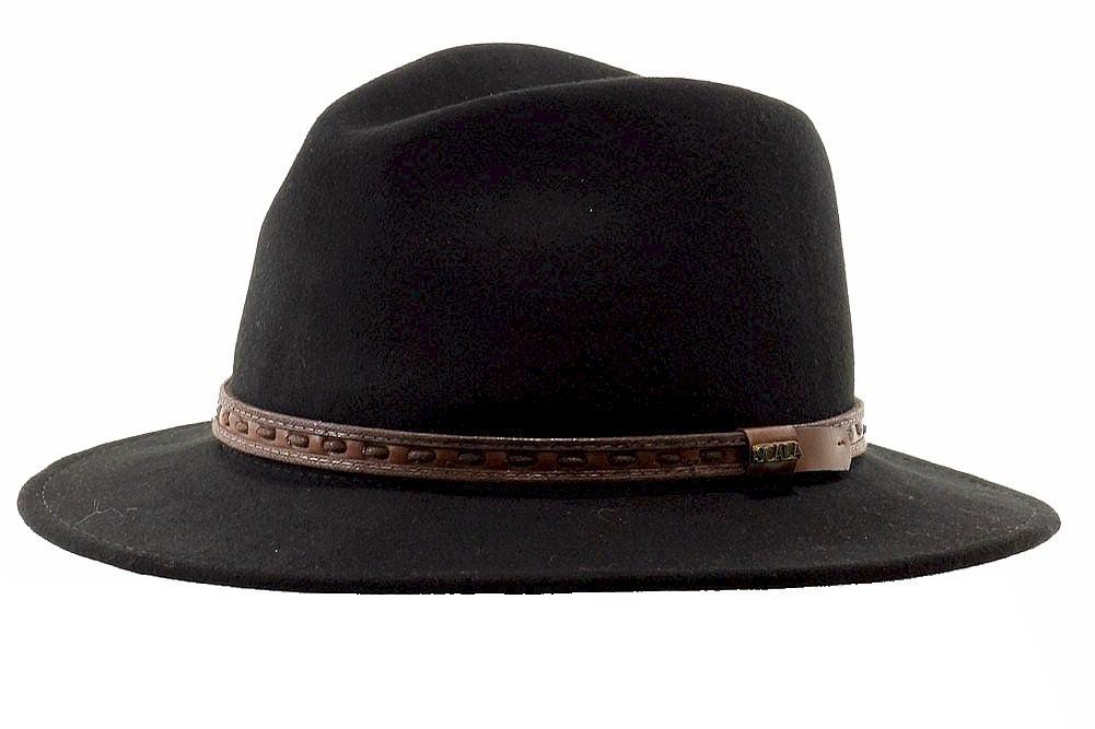 Image of Scala Classico Men's Sierra Wool Water Repellent Safari Hat - Black - Large