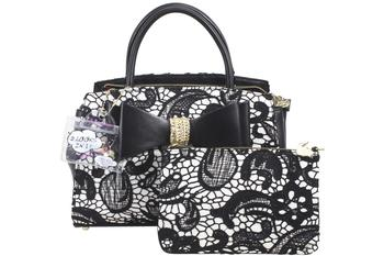 Betsey Johnson Women's Lady Lace Two-Fer Removable Bow Satchel Handbag Set