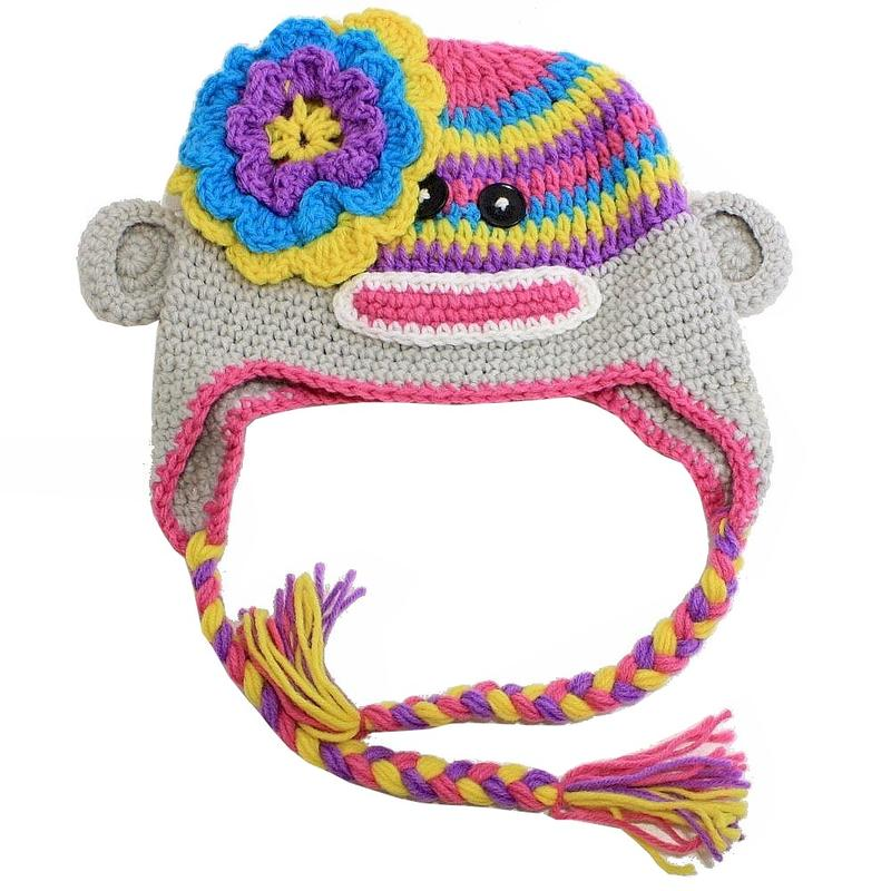 Image of Dorfman Pacific Kindercaps Kid's Monkey Peruvian Winter Hat - Grey - 4 6X; One Size