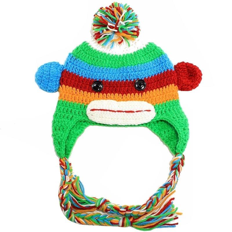 Image of Dorfman Pacific Kindercaps Kid's Monkey Peruvian Winter Hat - Green - 4 6X; One Size