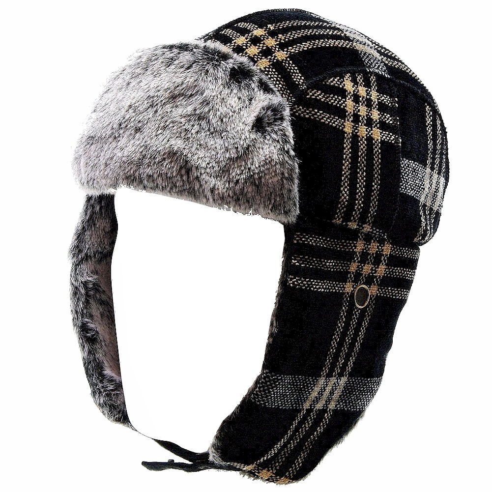 Image of Woolrich Chenille Men's Faux Fur Plaid Earflaps Trapper Hat - Black