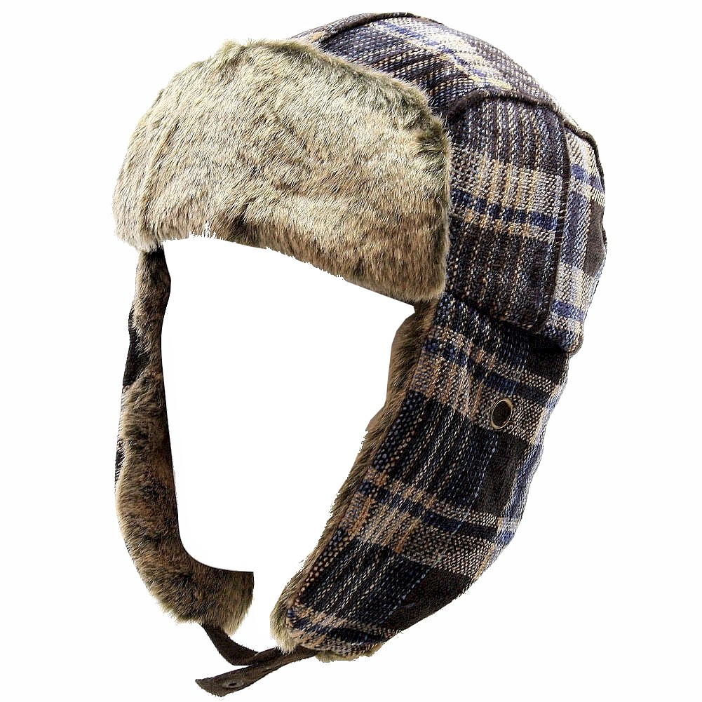 Image of Woolrich Chenille Men's Faux Fur Plaid Earflaps Trapper Hat - Blue