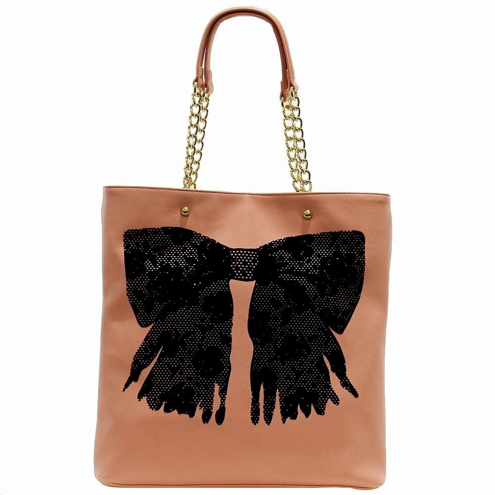 Image of Betsey Johnson Women's Flock A Bows Large Tote Handbag - Pink - One Size