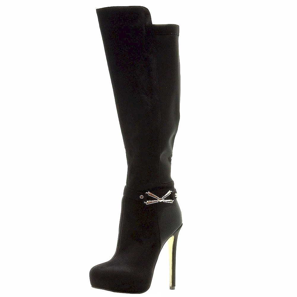 Image of Luichiny Women's Whirl Around Fashion Stiletto Knee High Boots Shoes - Black - 10