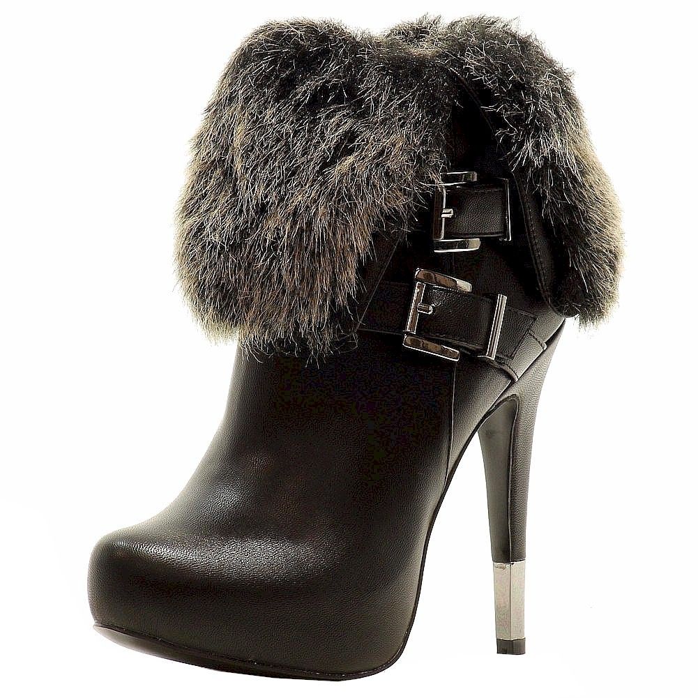 Image of Luichiny Women's Hot Seat Fashion Stiletto Ankle Boots Shoes - Black - 5